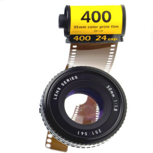 400 speed 35mm photography film and lens